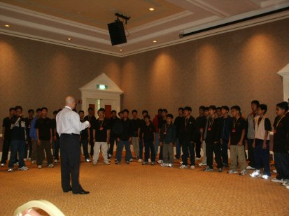 Working with a choir from Singapore.