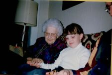 Aunt Esther with her great-great-niece Kristen. Both have the middle name Marie.