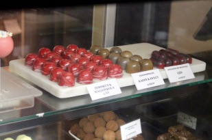 Chocolates in a chocolate shop.