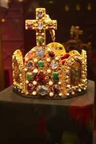Holy Roman Empire imperial crown, finished in the early 1000s. Worn only at the coronation of the Holy Roman Emperor. Of German origan, ca. 980. Gold, cloisonné, precious jewels, pearls.