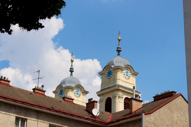 The bell towers of the church where Schubert composed as a child student of the organist.
