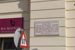 Mozart lived in a building on this site.