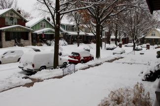 Looking south on Lawn Place, 8 a.m.
