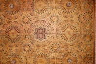 Detail, chancel ceiling in carved and painted wood.