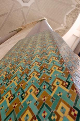 Detail of ceramic tile on column.