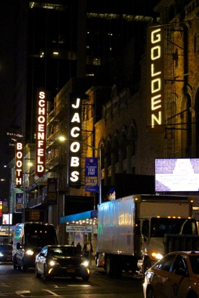 Four theatre marquees in a row on 45th.