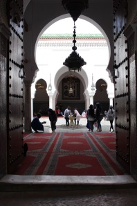 A peek inside the Sidi Ahmed al-Tijani Zawiya.