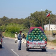 A load of watermelons at a checkpoint.