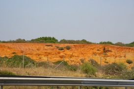 Red clay in the hills heading north.
