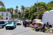 Street market outside of St. Andrew's churchyard.