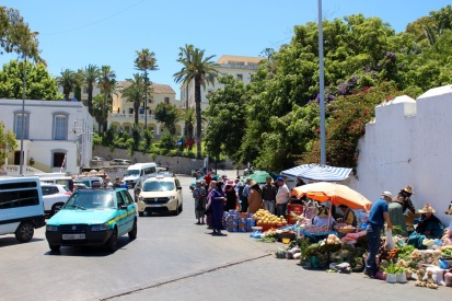 Street market outside of St. Andrew's churchyard.