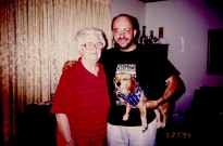 With Flora Carter and my doggie Sam.